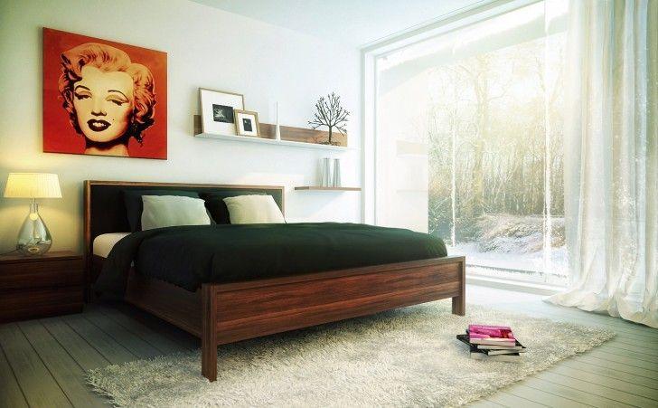 Bedroom, Creative Decoration Pop Art Brown Wooden Floor Rugs Fur Black Sleeping Bed Book White Wall Ceiling Metal Window Limpid Glass Outside View Tree Fabric Curtain Red And Table Lamp ~ Smart Bedroom Interior Design for Nice Sleeping Experience in Your Home