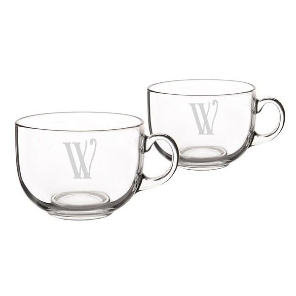 Cathy'S Concepts Monogram Glass Coffee Mugs (£32) ❤ liked on Polyvore featuring home, kitchen & dining, drinkware, monogram mug, glass tea mugs, glass mugs, coffee mugs and latte mugs
