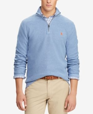 Polo Ralph Lauren Mesh Cotton Half Zip Sweater Jamaica