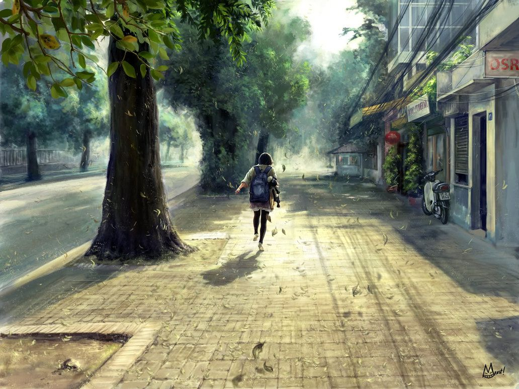 Lonely Background A Hand Drawn Watercolor Wallpaper Anime Scenery Wallpaper Anime Scenery Scenery Wallpaper