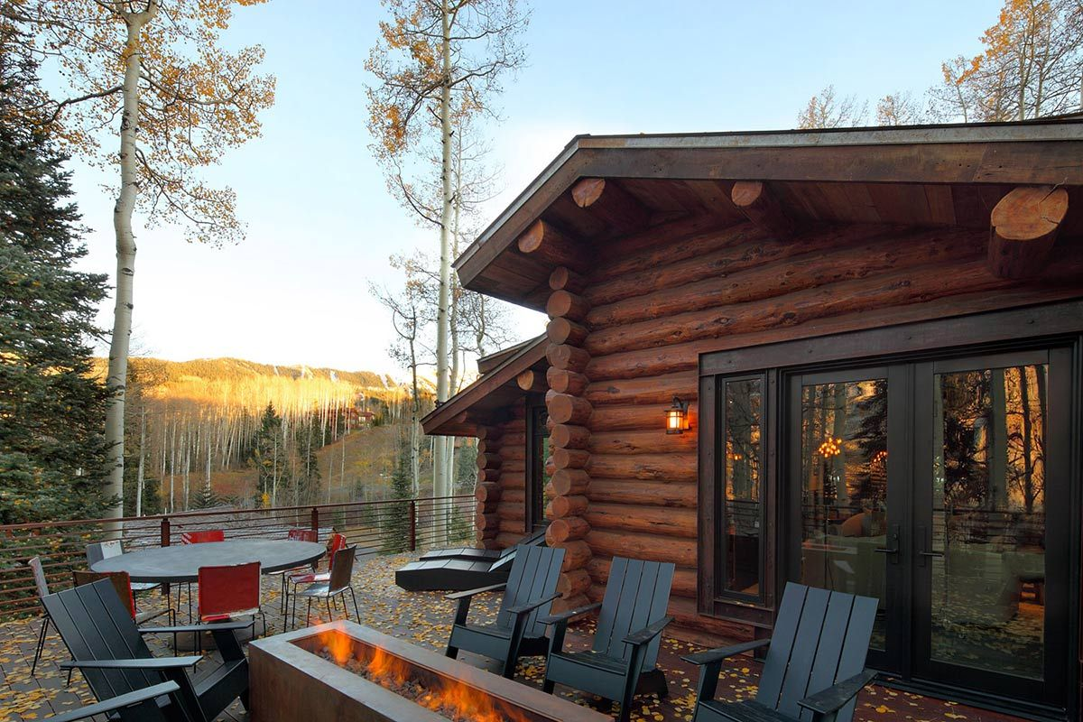 Outdoor Contemporary Fireplace Modern Log Cabin In