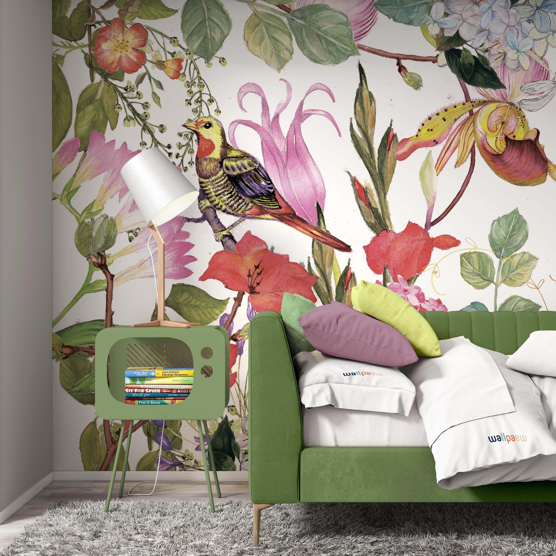 Watercolor Spring Garden Flowers Birds Background Floral Etsy Floral Wallpaper Spring Garden Flowers Bedroom Murals