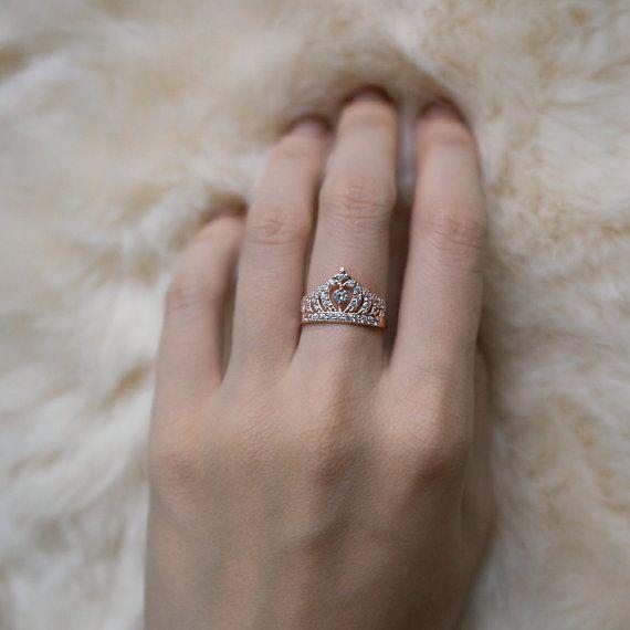 Rose Gold Crown Ring Sterling Silver Princess Ring Tiara Ring Christmas Gifts Ring A14 Crown Ring Rose Gold Crown Ring Princess Ring