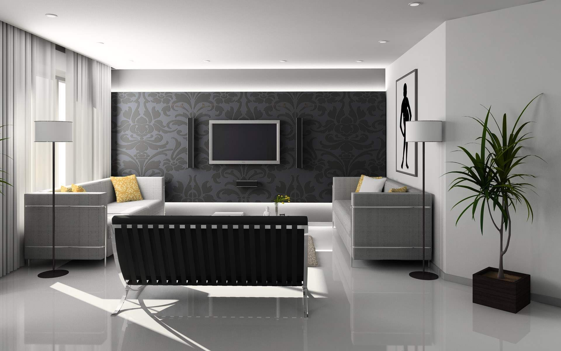 Stylish and Futuristic Living Room Design Concept | Tuxedos, Room ...