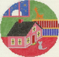 NEEDLEPOINT HANDPAINTED Canvas GOODNIGHT MOON Ornament Toy HOUSE and MOUSE Lee