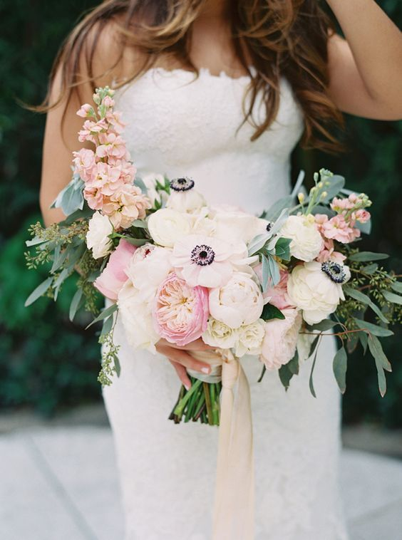 gorgeous pink anemone + stock bouquet