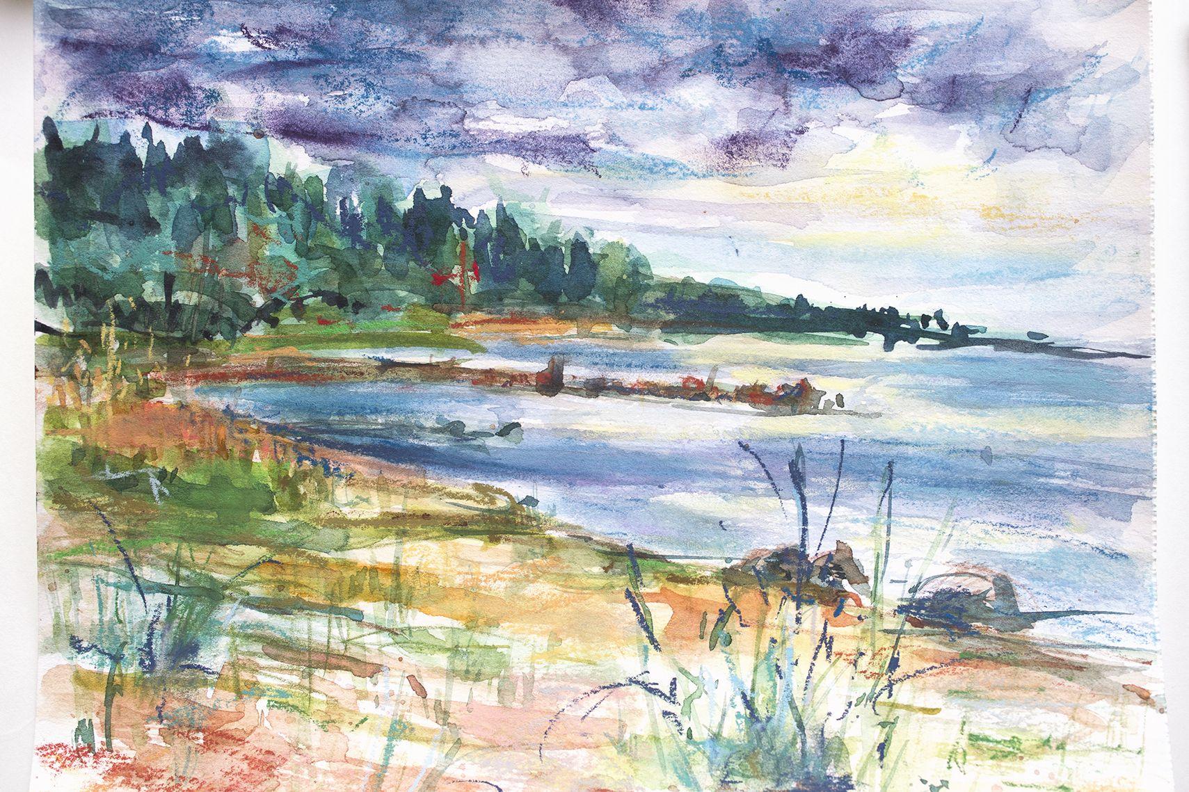 Original Art Landscape Original Pastel Painting Seascape Mixed