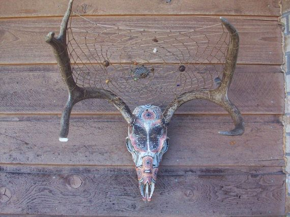 Custom Painted Deer Skull  Dreamcatcher  Native by VanessaJoBahr