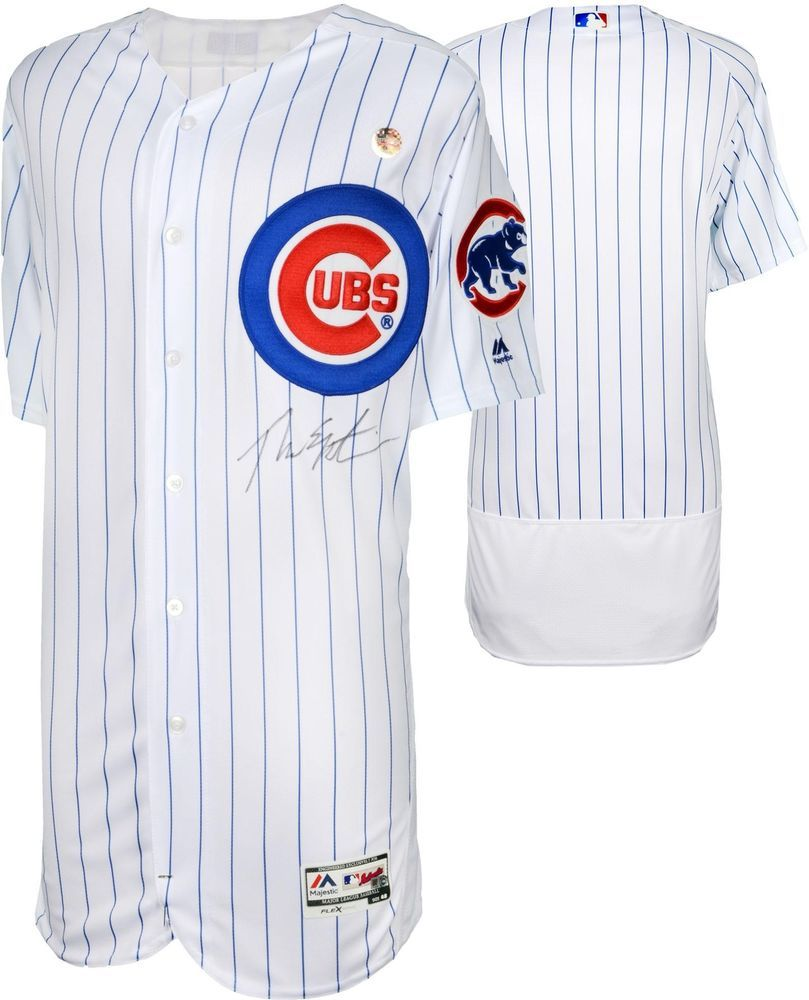b19ba91badb Theo Epstein Chicago Cubs 2016 MLB WS Champs Signed WS White Authentic  Jersey