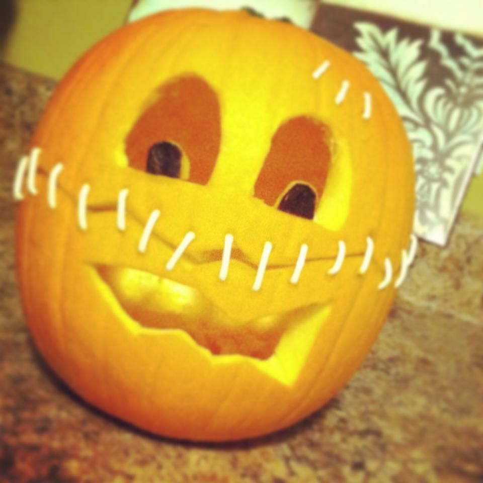 Pumpkin with stitches. Poke holes with a tooth pick & cut ends off q-