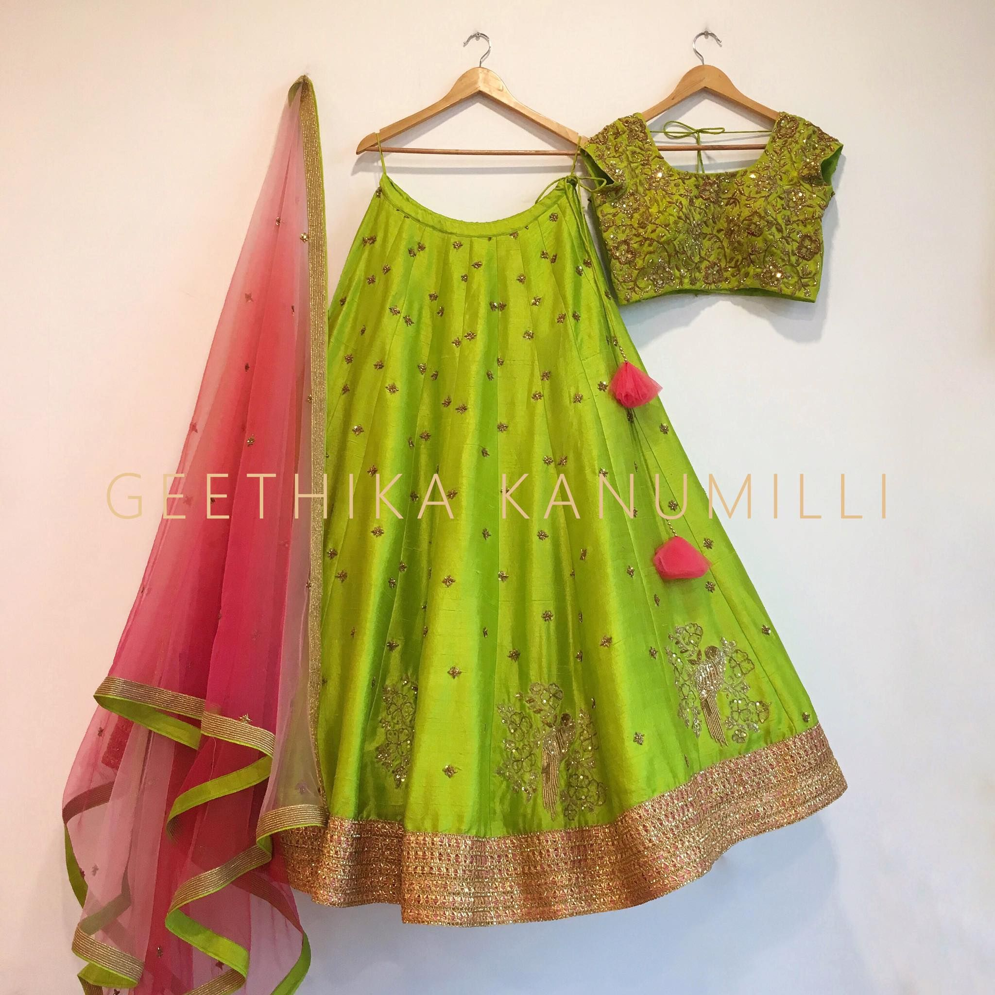 beautiful mint green designer lehenga and choli from geethika