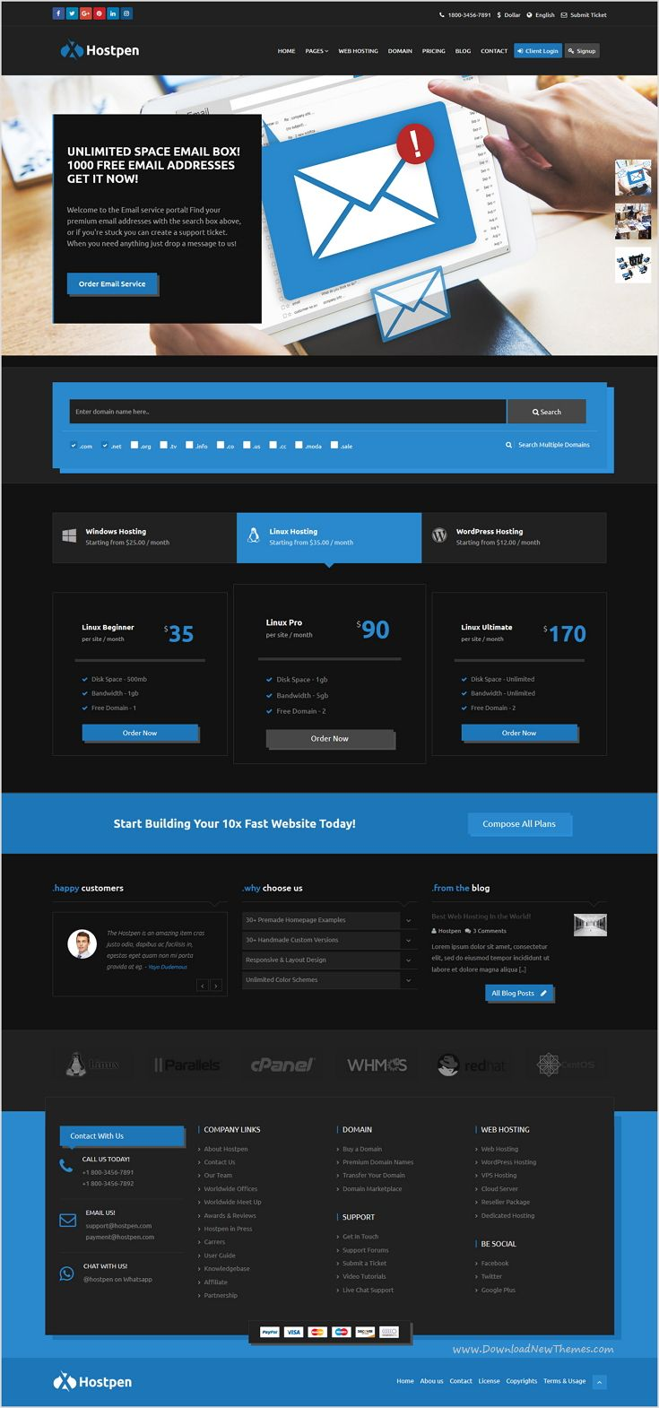 Hostpen is a modern and clean #Bootstrap template for #web #hosting ...