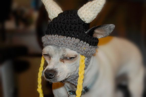 Instant Download Crochet Pattern - Viking Dog Hat - Small Dog Beanie
