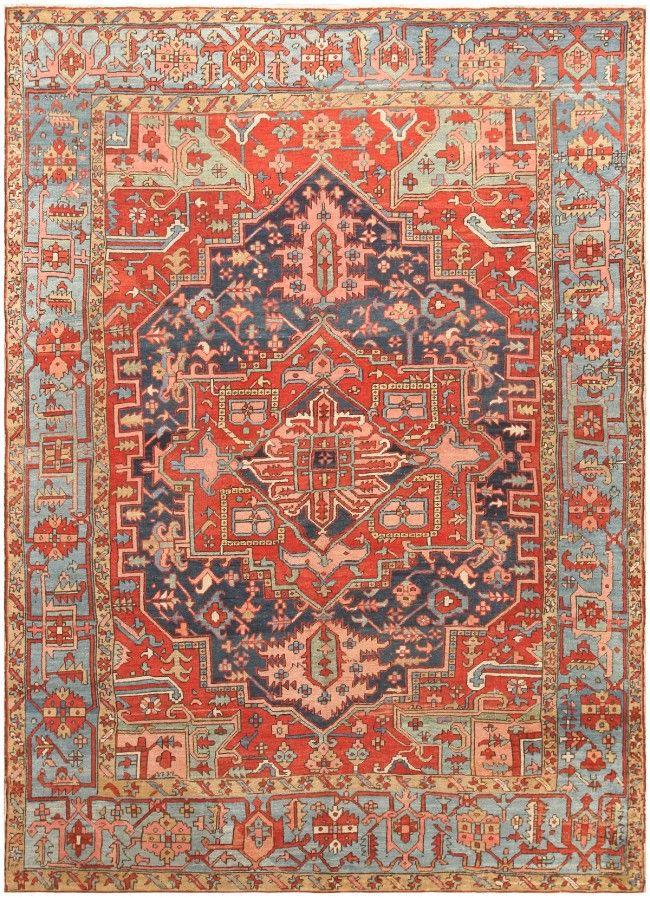 Antique Geometric Room Size Persian Heriz Rug 47110