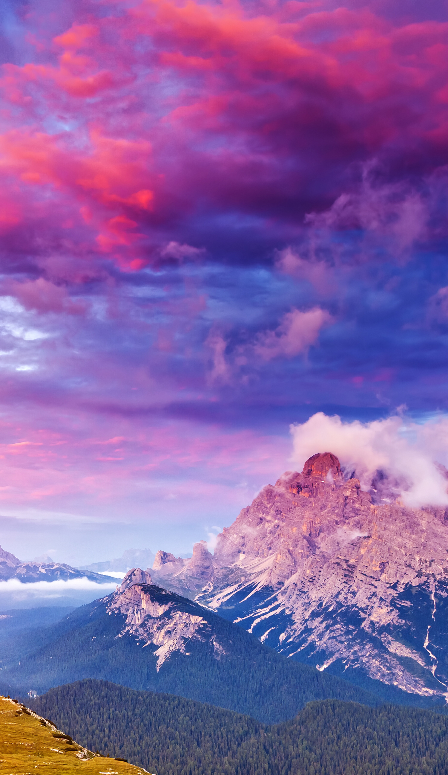 Mountain Top View With Pink Clouds Nature In 2019 Best