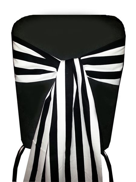 Black White Stripe Chair Sashes Backdrops Table Runners And Accessories Www Marrighi Com Au Striped Wedding Black White Stripes Black And White