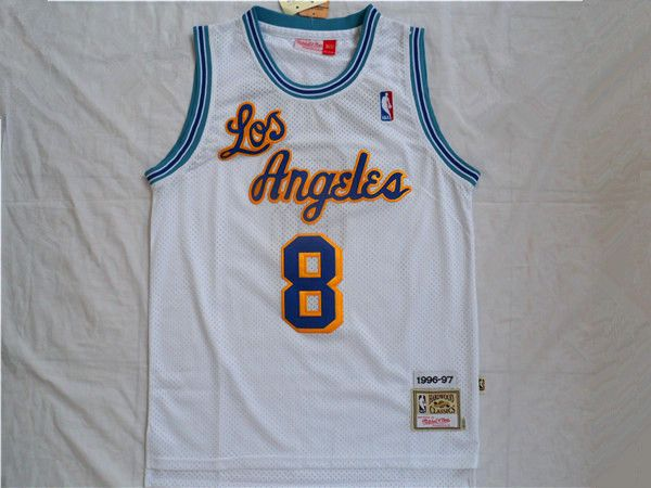 06297608a7e6 NBA Los Angeles Lakers kobe Bryant 8 classic rookie season 96-97 New Jersey  white fabrics