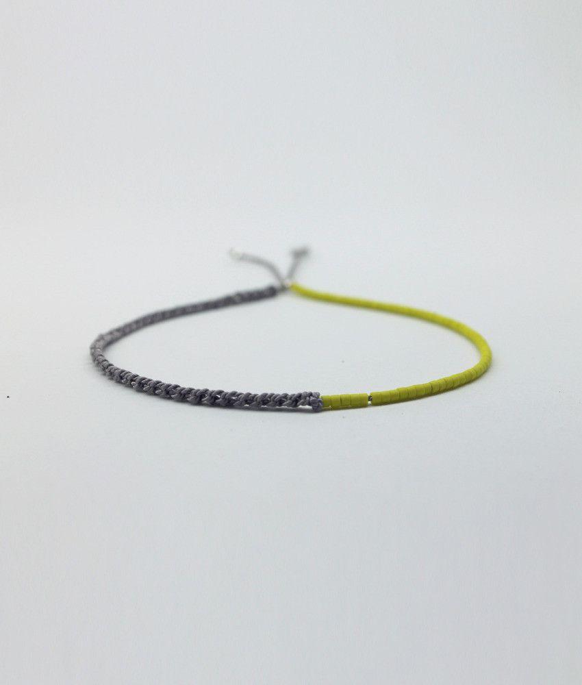 SALT Half-crocheted/Beaded Bracelet - Yellow