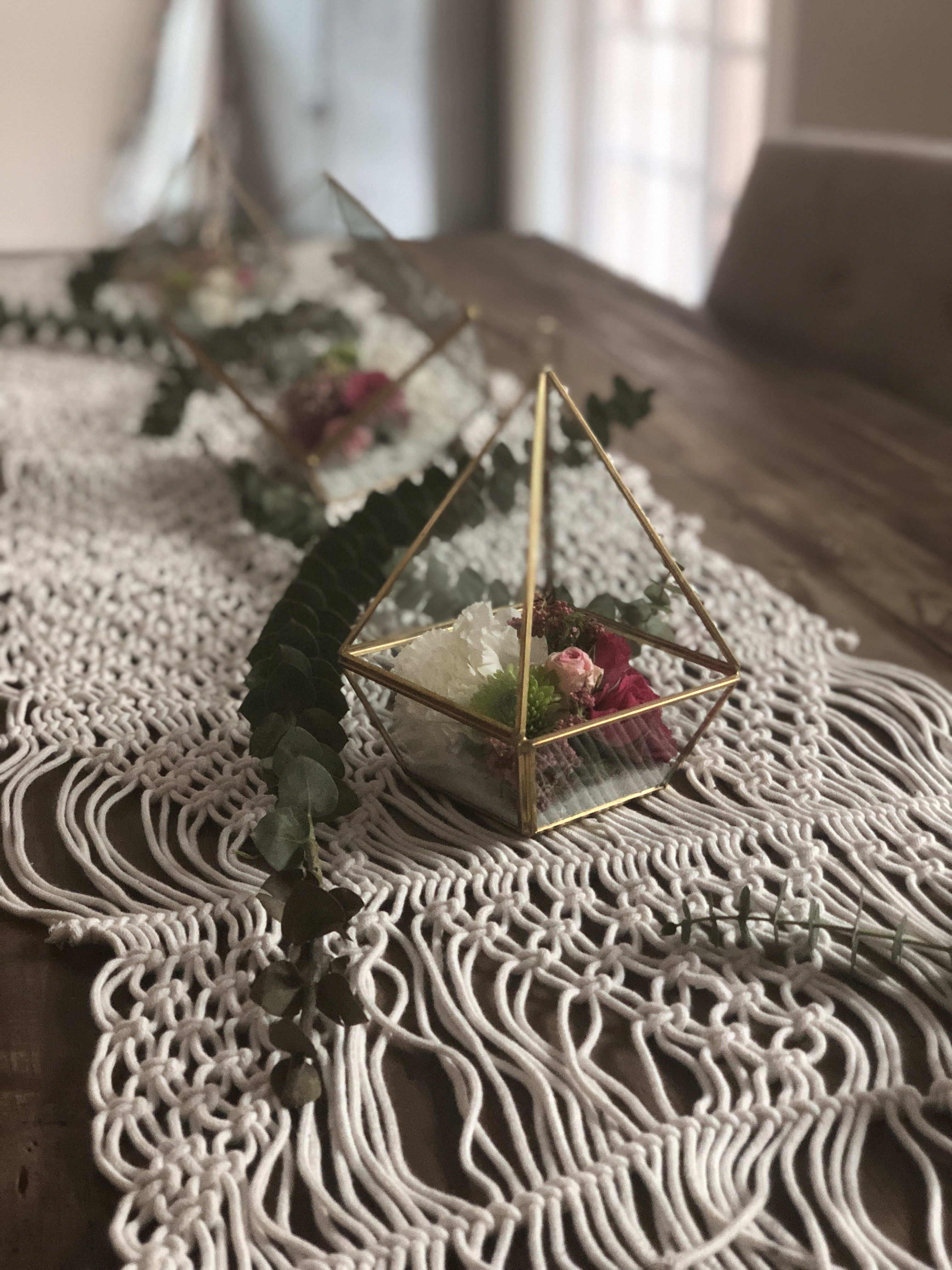 Boho Bridal Or Baby Shower Gold Terrariums With
