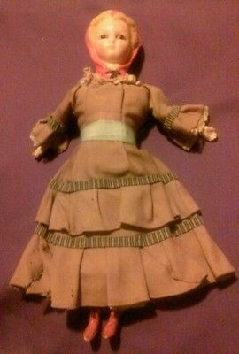 """c.1850 ANTIQUE Early American Doll-14"""" WAX over Papier Mache*ORIGINAL clothing!!"""