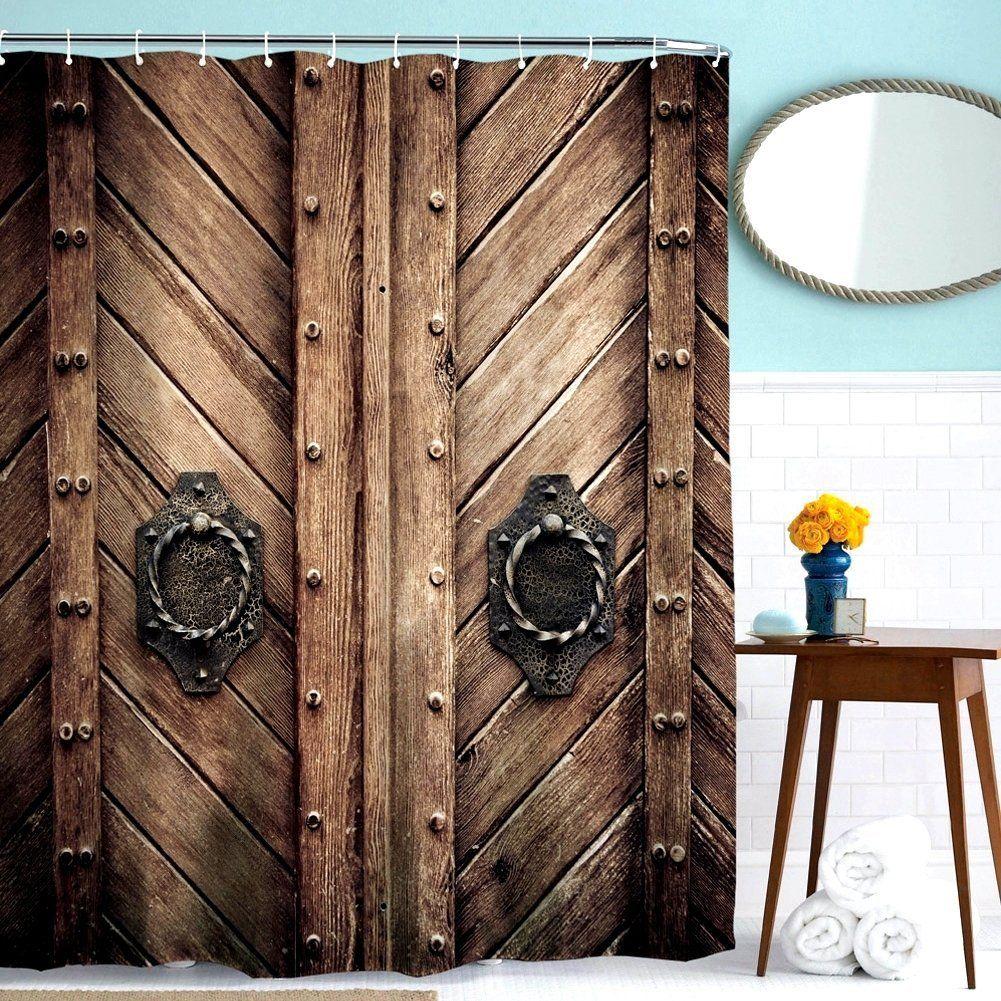 ToHa Retro Style Wooden Door Brown Shower Curtain, Rustic Rivet ...