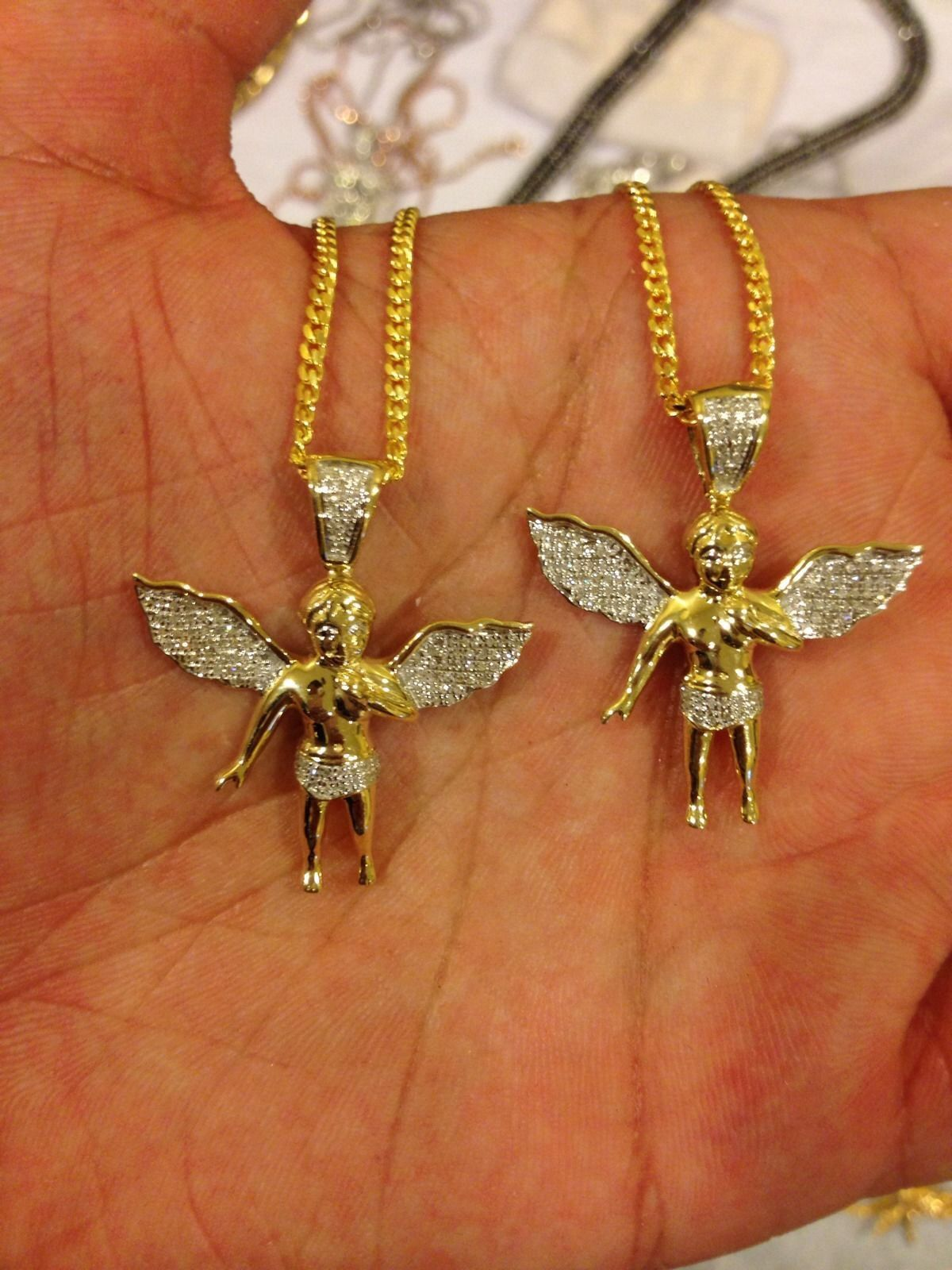 10k Gold Cuban Link Chain >> 2x Micro Angel 10k Gold Pendant Set w/ Free Chains ...