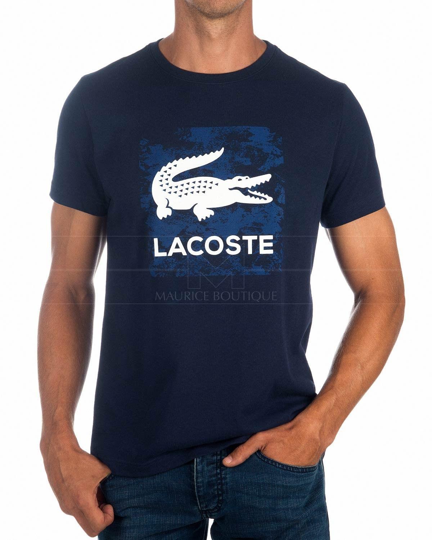 380e5a563f9a0 Camisetas LACOSTE ® Sport Azul Marino ✶ Logo Blanco