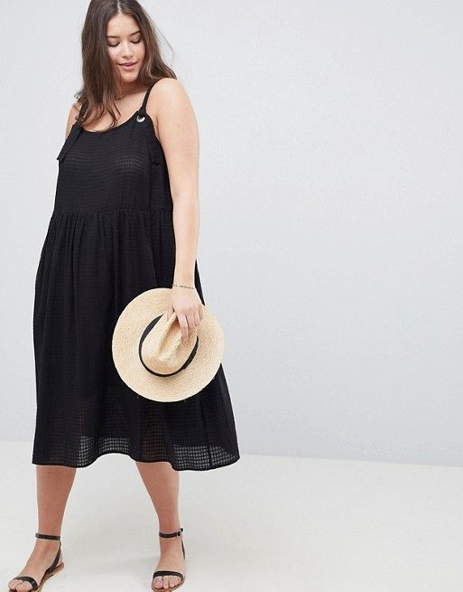 ASOS DESIGN Curve off shoulder button through midi sundress - Black Asos Curve Many Kinds Of Outlet Clearance Store Free Shipping Get Authentic DdlHvPSJ8