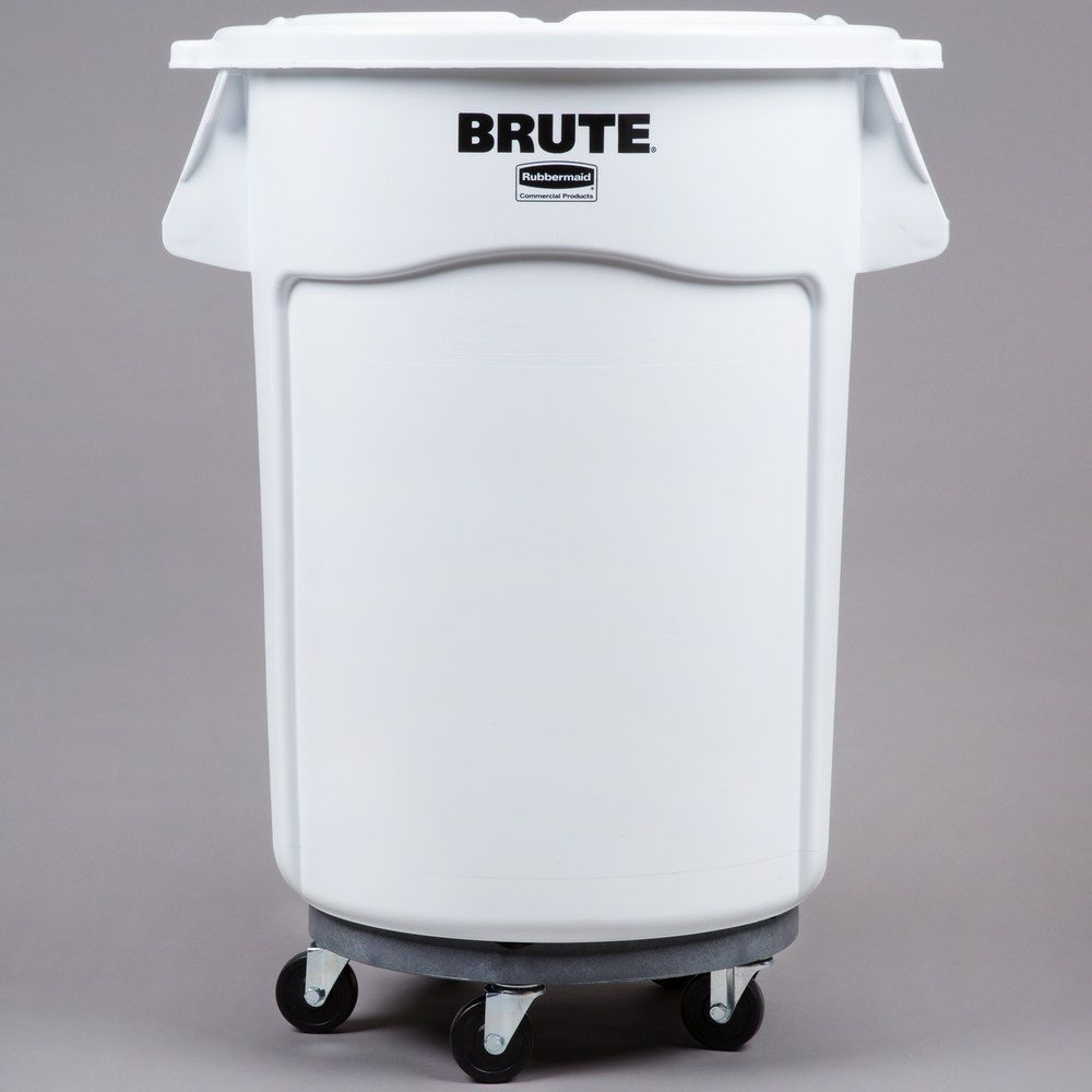 Rubbermaid Brute 20 Gallon White Ingredient Bin Trash Can Lid And Dolly Kit Rubbermaid Trash Can Canning Kit