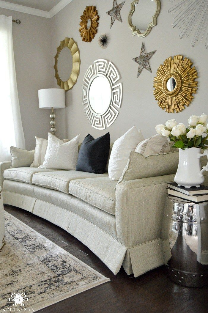 Kelley Nan Formal Living Room Tour Gold And Silver Sunburst Mirror Gallery Wall In