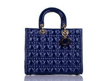98194f905b Christian Dior en cuir verni bleu Moyen Sac Lady Dior, replique sac a main  dior pas cher, D ring