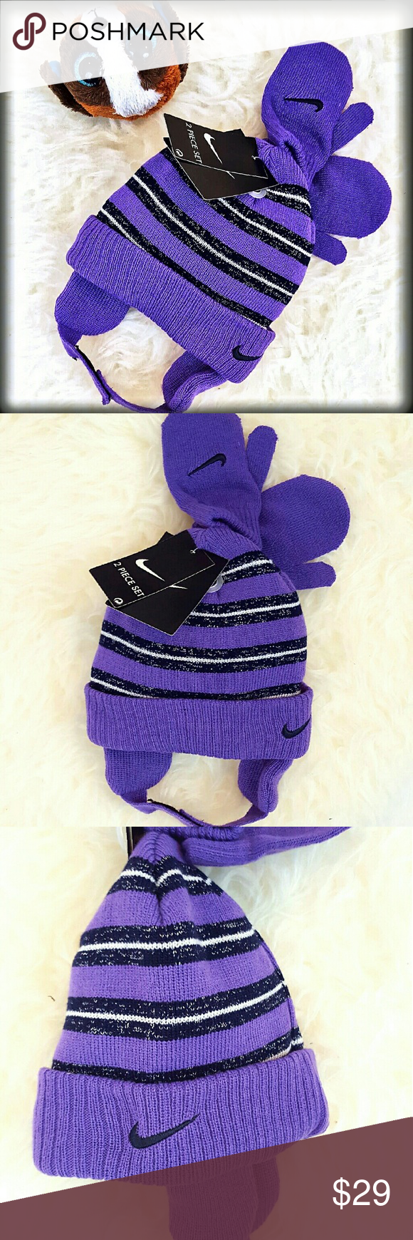 d5689c276c7 30% 2🚨NWT Nike Toddler Girl Winter Cap Gloves Set New with Tags simply  adorable Nike winter hat and stretch mittens set. Size 2t-4t. 100% Acrylic.