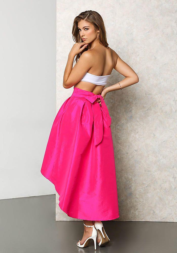 Fuchsia Lustrous Taffeta Hi-Lo Pleat Skirt