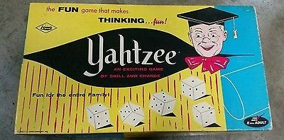 cool Vintage 1956 ORIGINAL YAHTZEE Dice Family Board Game E.S. Lowe Co - For Sale Check more at http://shipperscentral.com/wp/product/vintage-1956-original-yahtzee-dice-family-board-game-e-s-lowe-co-for-sale/