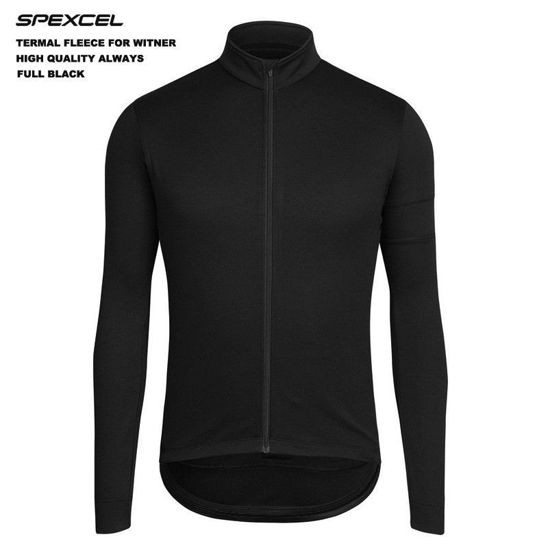 SPEXCEL Low-profile design classic black winter thermal fleece Cycling Jersey autumn cycling Clothing Road MTB fleece jacket