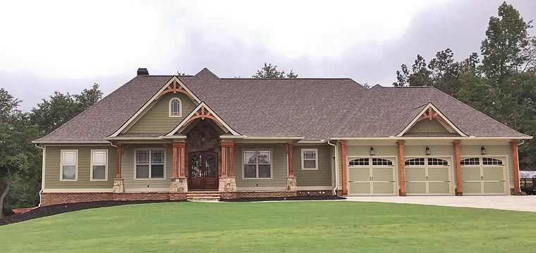 craftsman ranch traditional house plan 50264 | craftsman ranch