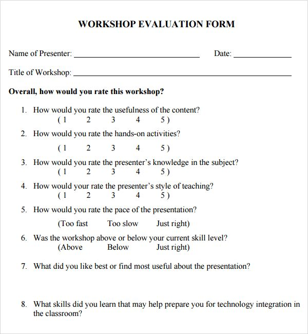 Workshop Evaluation Form Template  Logos I Like