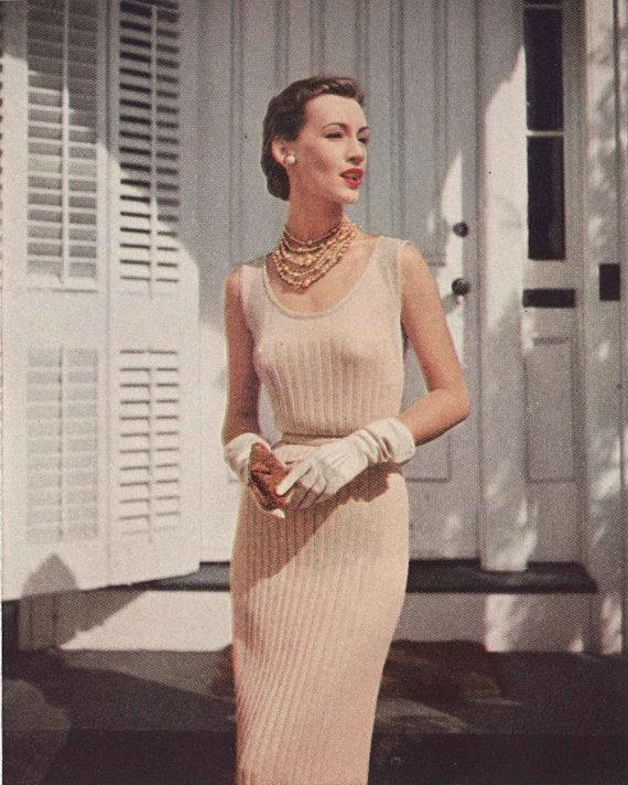 Champagne Spritzer • 1950s Knitting Dress Engagement Wedding Bridal