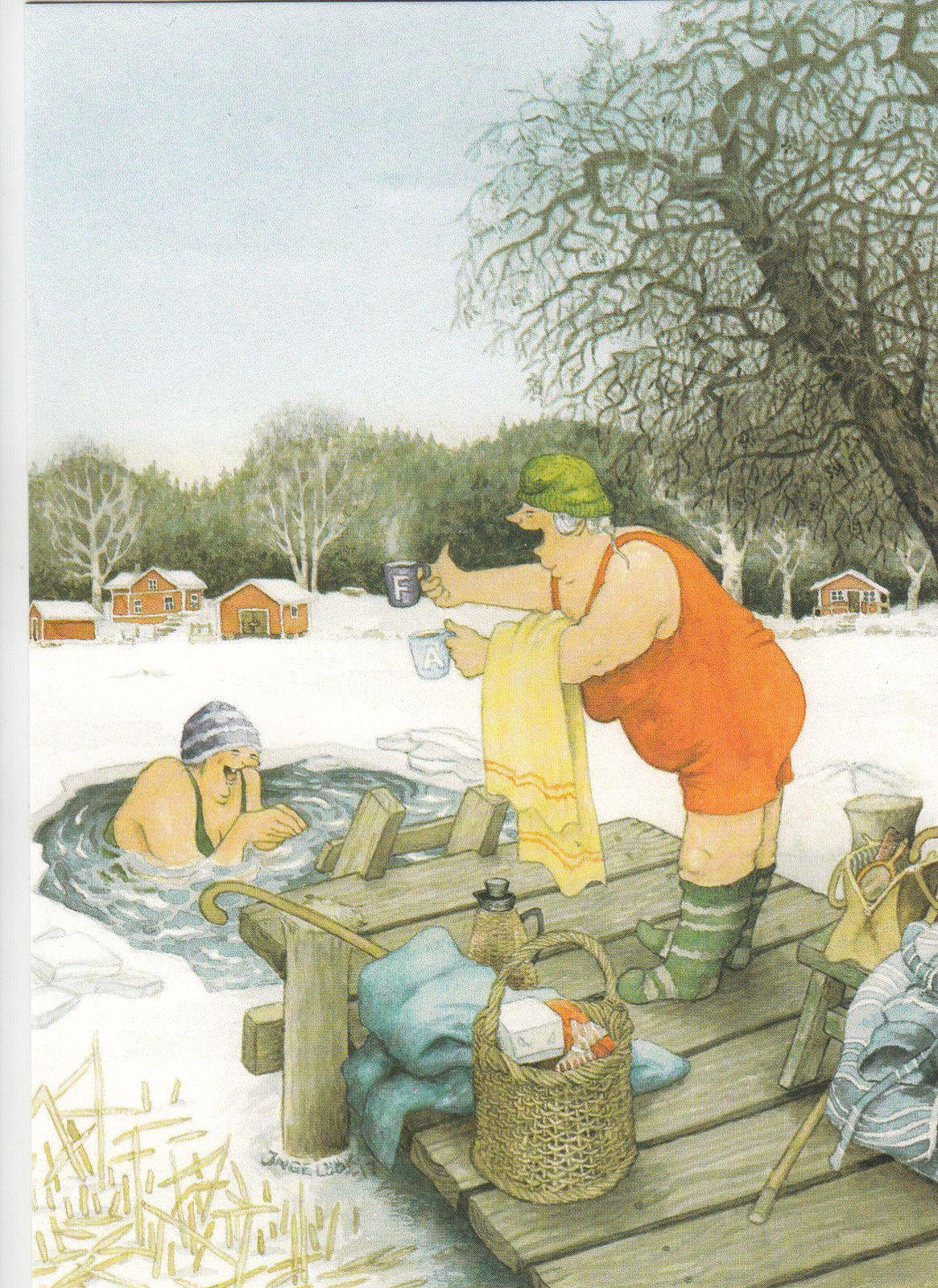 New single postcard by Inge Löök, old ladies, winter