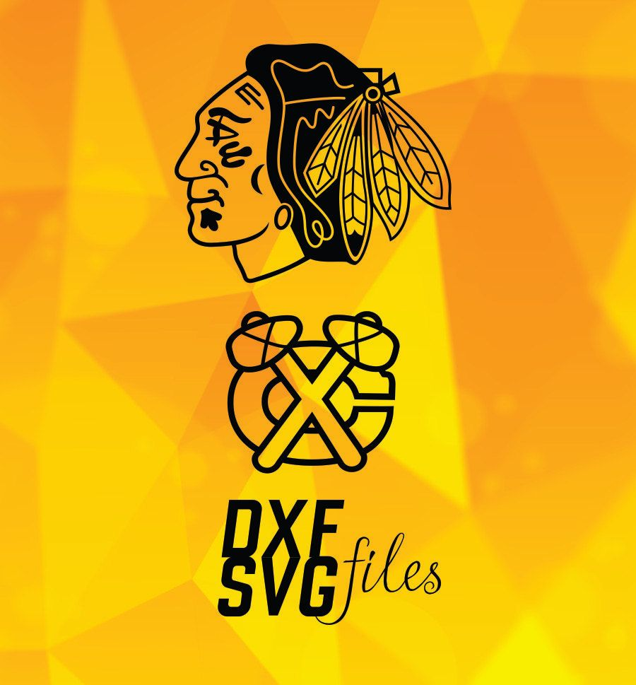 2 Chicago Blackhawks logos in DXF and SVG files Instant download ...