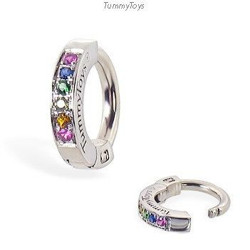 White Gold Belly Ring With Rainbow Sapphires Belly Ring White Gold