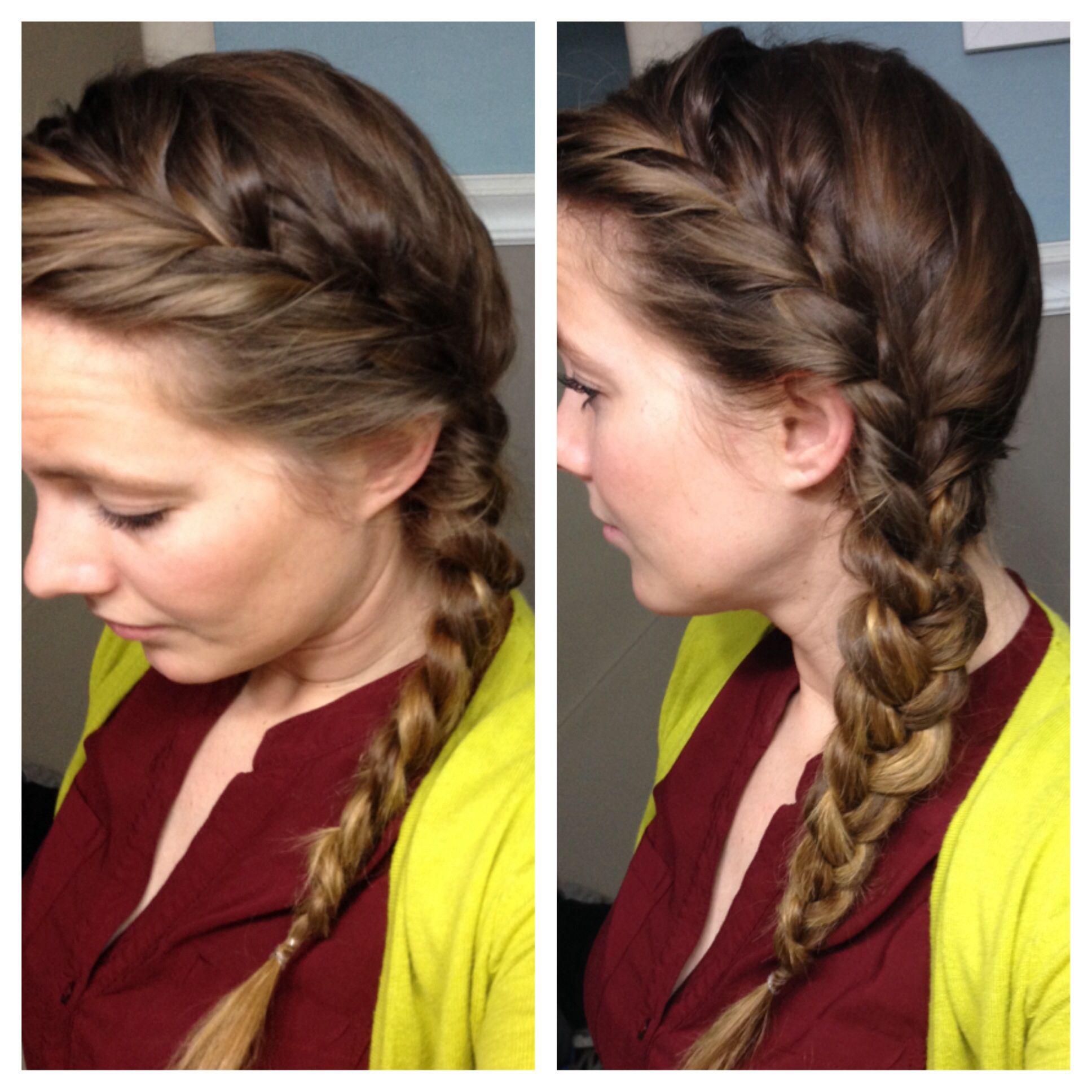 side part french braid. messy