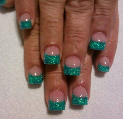 nails design acrylic short teal 64 ideas nails  teal