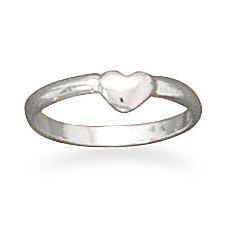 PRECIOUS BABY RING w/ TINY HEART CRAFTED IN SOLID .925 STERLING SILVER SZS 1 & 2 $21.99