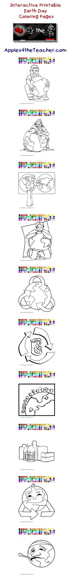 Printable interactive Earth Day coloring pages, Earth Day coloring ...