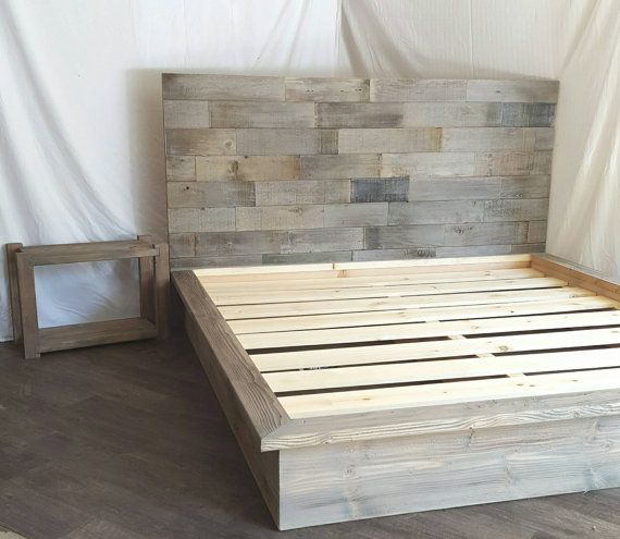 Steph grey driftwood finished platform bed with horizontal staggered ...