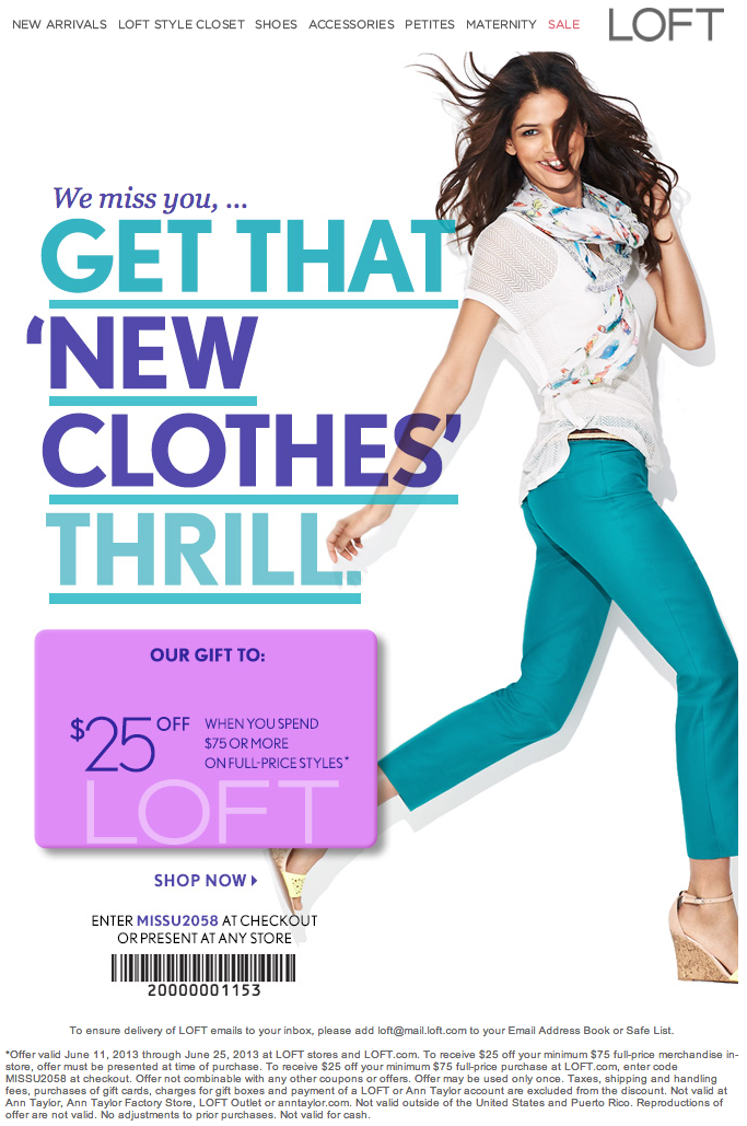 photograph regarding Loft Coupon Printable known as Ann Taylor Loft: $25 off $75 Printable Coupon Discount codes