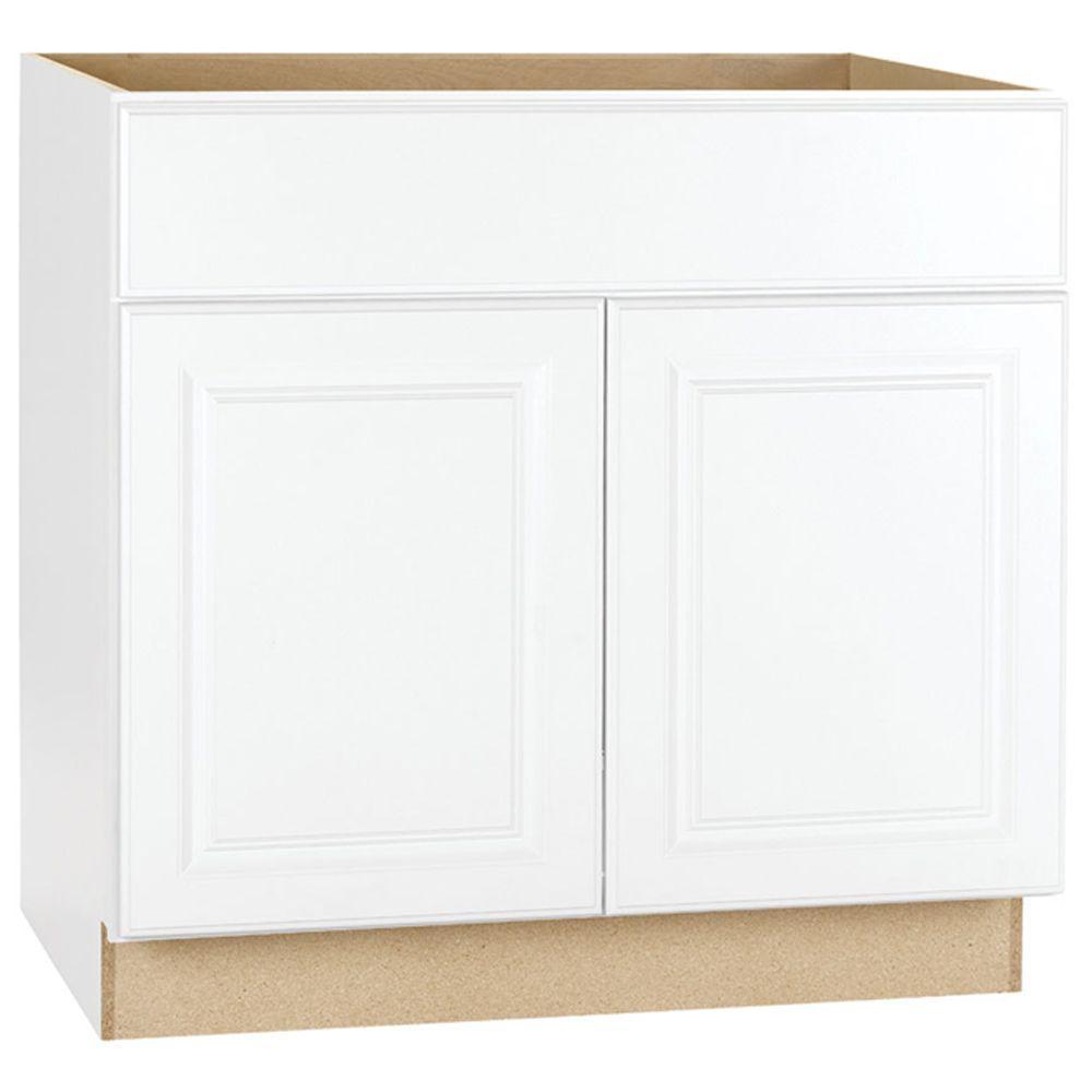 Hampton Bay Hampton Assembled 36 In X 34 5 In X 24 In Sink Base Kitchen Cabinet In Satin White Ksb36 Sw Home Depot Kitchen Base Cabinets Assembled Kitchen Cabinets