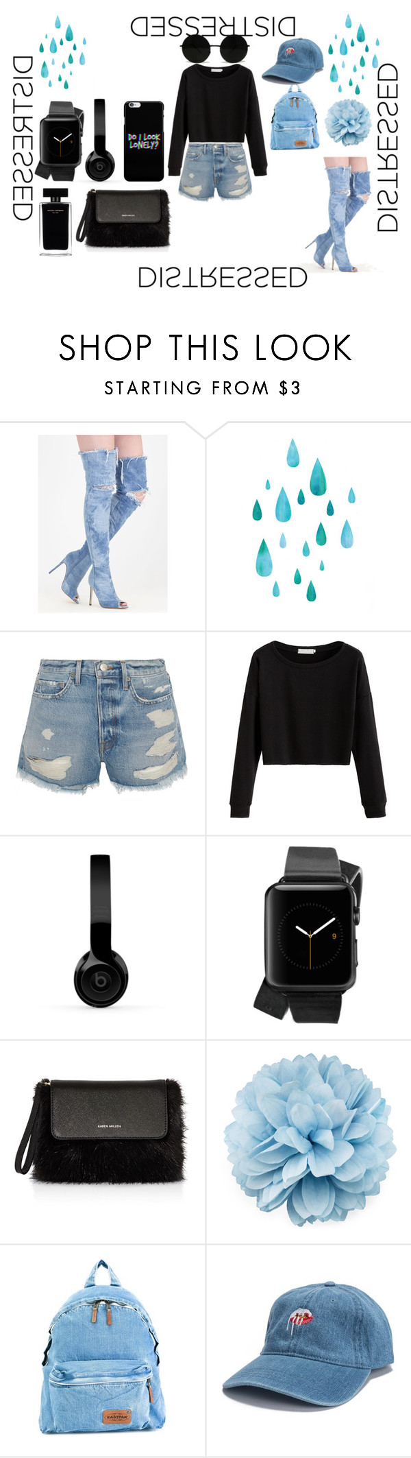 """""""denim"""" by beautie-swagg on Polyvore featuring Frame, Beats by Dr. Dre, Narciso Rodriguez, Karen Millen, Gucci and Eastpak"""
