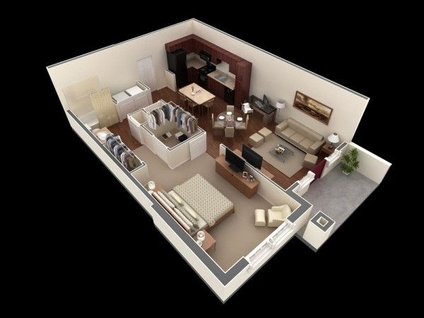 50 plans en 3d d appartement avec 1 chambres for Conception 3d appartement